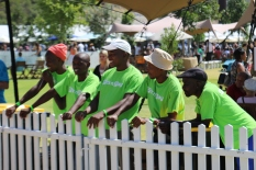 Staff enjoy the barel rolling at the Stellenbosch wine festival in South Africa.