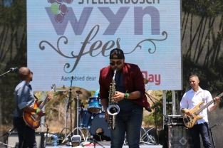 A band playing at the Stellenbosch Wine Festival