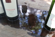 Lomond Merlot wine bottle with Wayne Gabb's reflection in water.