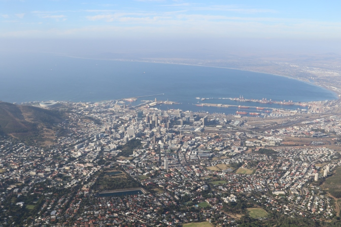 View of Cape Town from Table Mountain South Africa.