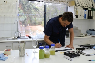 Luke Jolliffe of Stella Bella Wines at work in the lab at Margaret River winery in Western Australia.