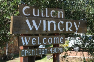 Cullen Winery welcome sign in Margtaret River Australia.