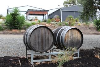 Barrels outside at Danshi Rise winery in McLaren Vale Australia.