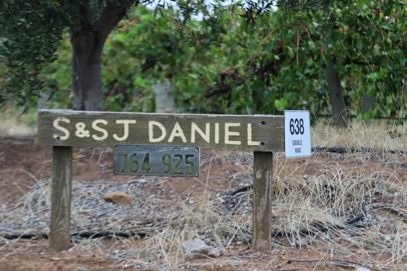 S&SJ Daniel winery sign in Mclaren Vale Australia.