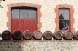 Yalumba wine barrels outside the winery in the Barossa Valley in Australia.