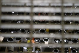 A wine rack shot through the stairs at Greystone winery in New Zealand.