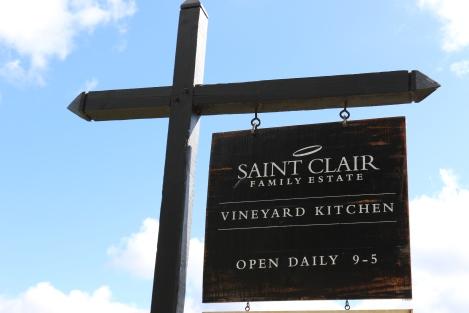 A Saint Clair Vineyard Kitchen sign in Marlborough New Zealand.