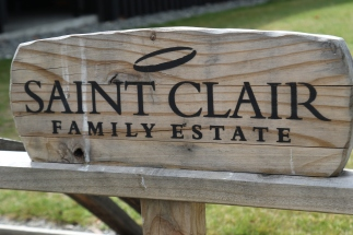A Saint Clair Family Estate sign at the winery cellar door in Marlborough New Zealand.