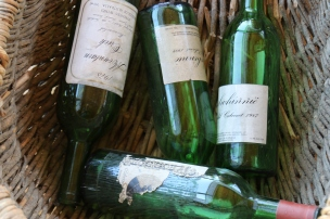 Old Dalwhinnie wine bottles at the cellar door in Australia.