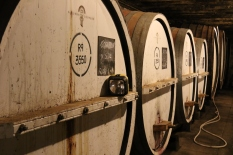 Barrels in the cellar at Tahbilk in Australia.
