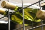 Wine bottles on the rack at Charles Sturt University Australia.