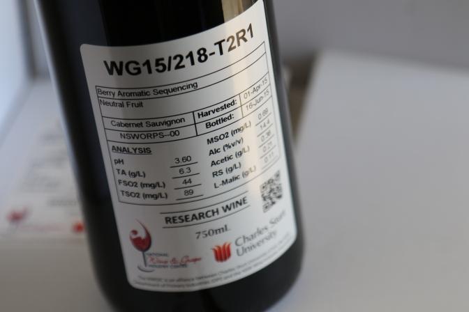 Wine label at Charles Sturt University in Australia.