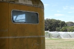 An old caravan by the vines at Sallys Corner Wines.