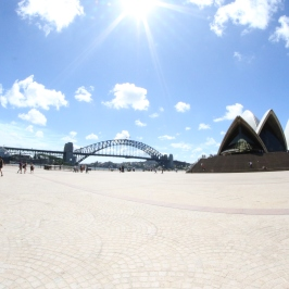Sydney Harbour Bridge and the Opera House.