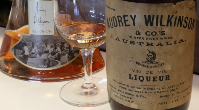 Audrey Wilkinson old and new labels for the Vin de Vie Liqueur.