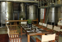 Dining by the tanks at Briar Ridge Wines in Hunter Valley.
