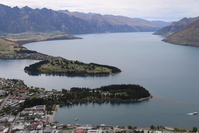 Lake Wakatipu in Queenstown New Zealand.