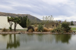 Lake view at Peregrine Wines in New Zealand.
