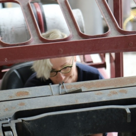 Helen driving the forklift at Ata Rangi in Martinborough, New Zealand.