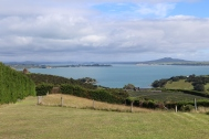 Looking back to Auckland from Waiheke Island in New Zealand.