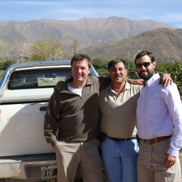Thibaut Delmotte and his team in the vineyard during the 2016 harvest at Bodega Colome in the Salta region of Argentina.