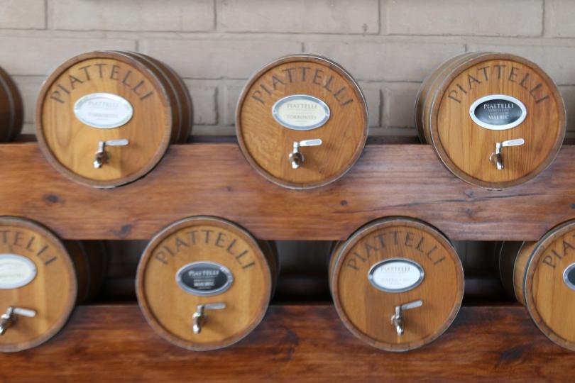 Tiny wine barrels at Piatelli Wines in Argentina.