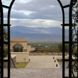 Mountain views from the Piatelli wine tasting room in Cafayate, Argentina.