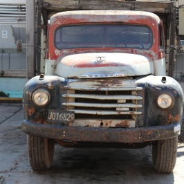 An old Volvo truck at the Bodegas Borbore winery in the Tulum Valley of San Juan in Argentina.