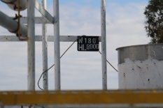 A sign on top of the wine tanks at the Bodegas Borbore winery in Argentina.