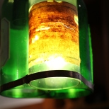 Wine bottle lights in the Pegasus Bay cellar door in Waipara Valley in New Zealand.