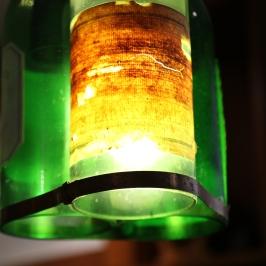 Wine bottle lights in the Pegasus Bay cellar door in Waipara Valley in New Zealand.