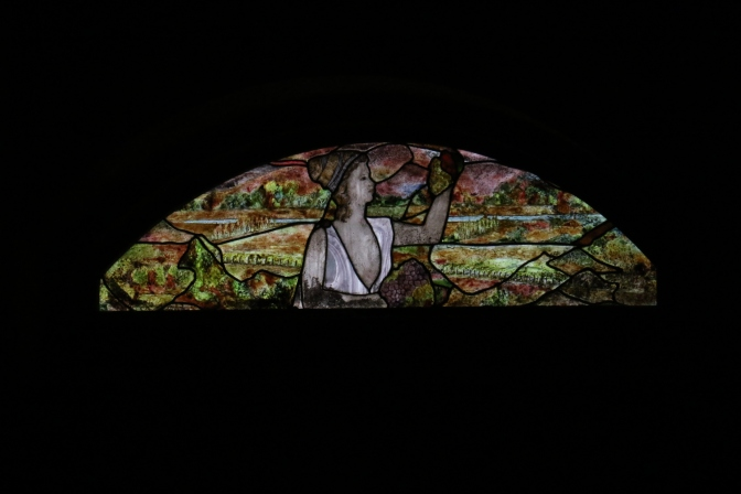 Stained glass in the cellar at the Indomita Winery in the Casablanca Valley in Chile.