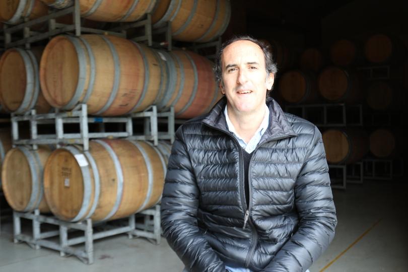 Cristóbal Undurraga Marimón in his barrel room at the Vina Koyle winery in Chile.