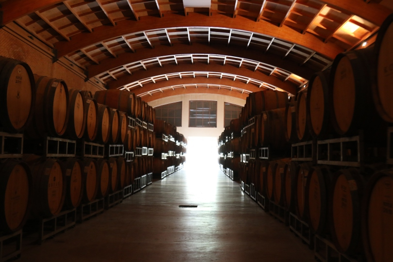 The barrel room at the Vina Koyle winery in Chile.