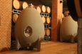 Large fermenting concrete eggs at Vina Koyle winery in Chile.