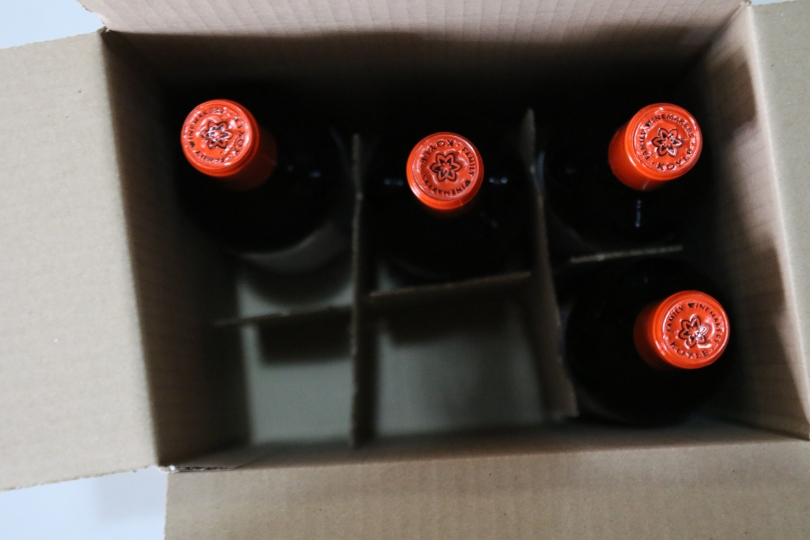 Red bottle tops at the Vina Koyle winery.