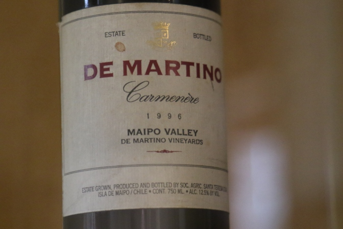 A very rare wine bottle of Carmenere from 1996 stored at the De Martino wine library in the Maipo Valley in Chile.