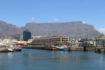 The V&A Waterfront with the backdrop of Table Mountain in Cape Town South Africa.