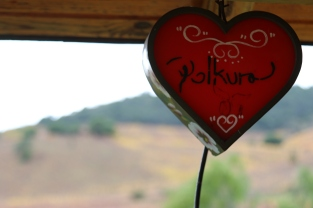 A heart shaped light at Polkura Wines in the Colchagua Valley in Chile.