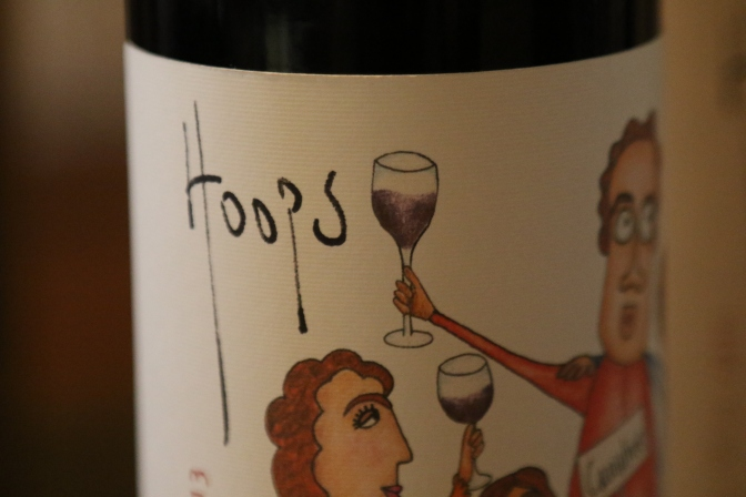 The Hoops wine bottle label showing Guy Hooper and his family.