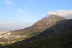 A view from the top of the cable car at Table Mountain in Cape Town.
