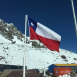 The Chilean Flag at the Los Libertadores border control.