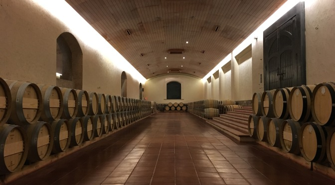 An image of the Concha Y Toro barrel room in Chile.