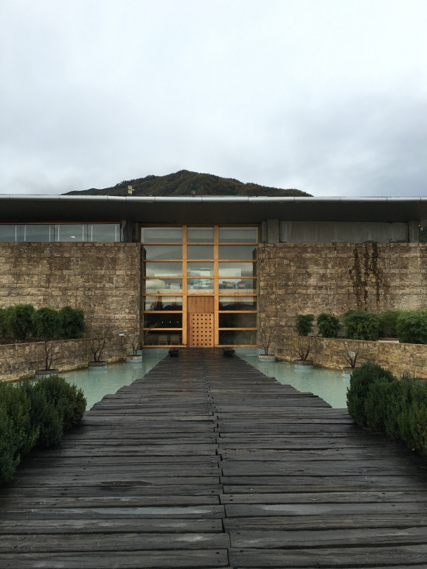 Front door to Montes winery in Apalta, Chile.